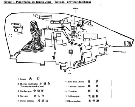 Fig. 1 : Plan général du temple Jinci - Taiyuan - province du Shanxi