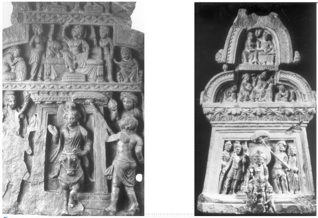 Fig. 4 et 5 : Grand Départ avec Sommeil des femmes - à gauche scène non identifiée (Couple ?), prov. Jamalgarhi, Calcutta, Indian Museum, No.G5/A 23259. Cliché Tissot. - à droite , Takht-i-Bahi, Calcutta, Indian Museum, No.G5. Cliché Tissot.