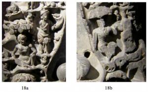 Juste au-dessous de Pañcaśikha, se tient, sous un arbre, Vajrapāṇi (18a) à qui fait pendant, de l'autre côté de la grotte, Pāñcika (18b).