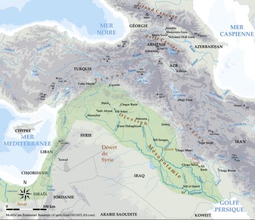 """Figure 1. Carte générale du Proche-Orient et du Caucase avec les sites mentionnés dans le texte et, en vert, le """"Croissant Fertile"""""""