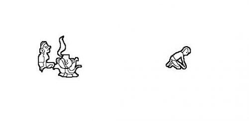 Figure 5 : Détails de la peinture murale El Puebloe costero, Temple des Guerriers, Chichen Itza, Mexique. Femme assise devant une marmite sur le feu (à gauche) et homme au metate (à droite). Dessin personnel d'après MORRIS, 1931.