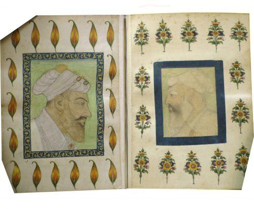 Figure 1. Deux portraits de Shah Jahan. Paris, BnF, Estampes et Photographie, OD49-4°, f. 23v.-24.