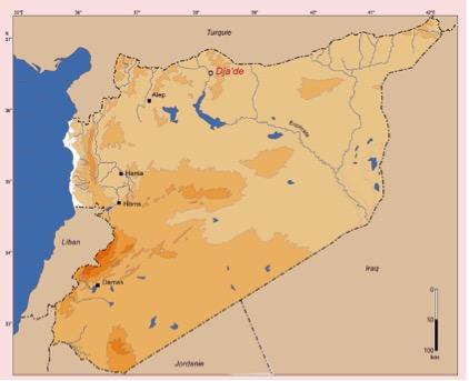 Figure 1. Carte de situation de Dja'de-el-Mughara en Syrie du Nord ( DAO MOM).