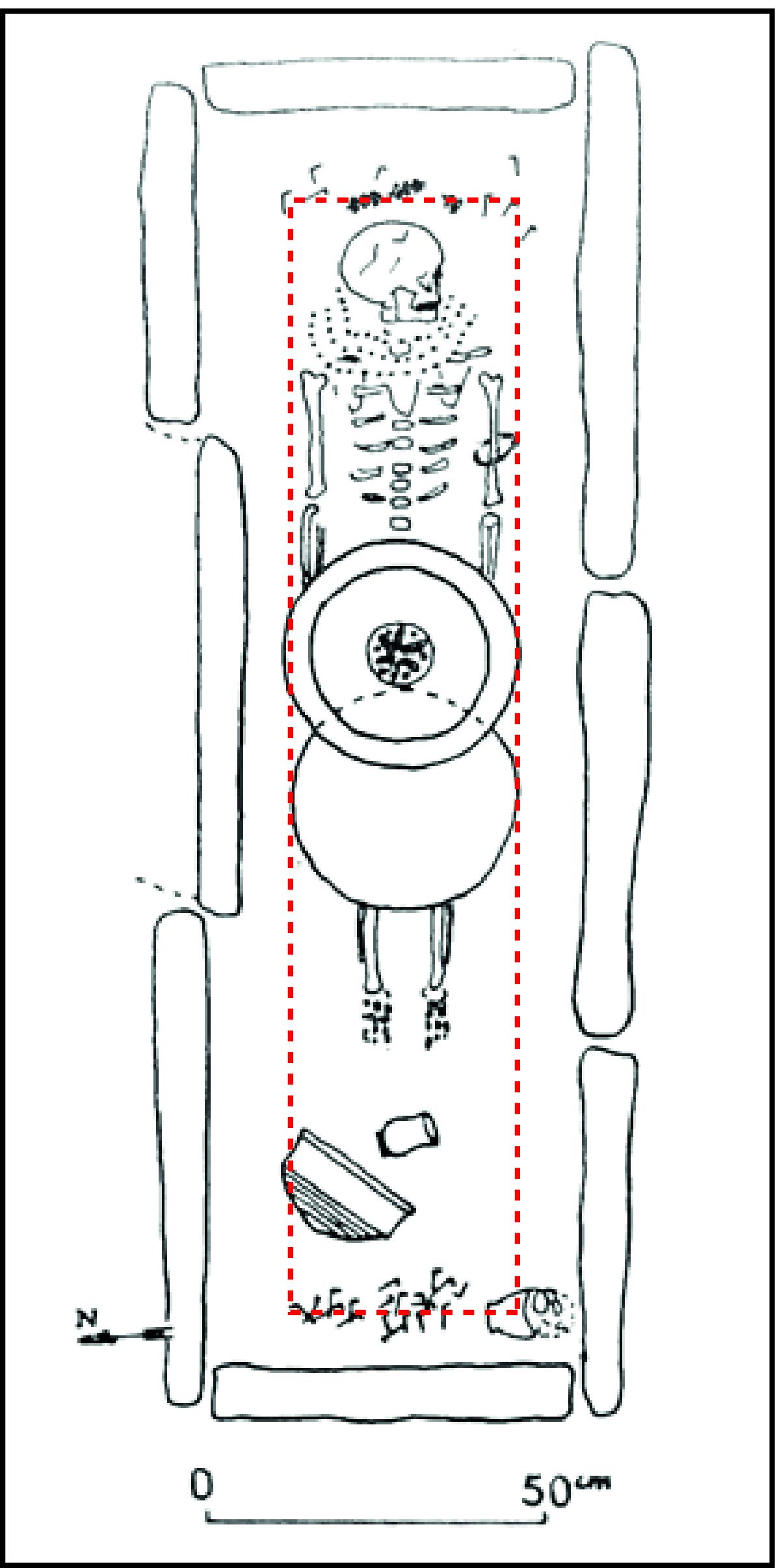 Contours hypothétiques d un contenant ou coffrage en bois qui protégeait le  défunt de la f3de9f343c18