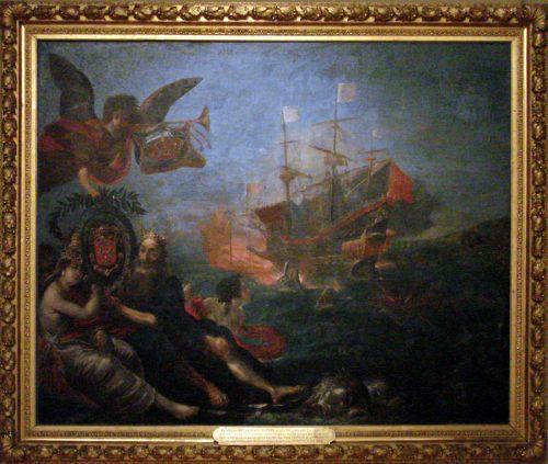Figure 2. Claude Vignon, Le ravitaillement de l'ile de Ré en 1627 par Claude Razilly, Musée national de la Marine, inv. N°1 OA 20. Signature en bas à droite, VIGON INVEN / pit 1642 […] (illisible)