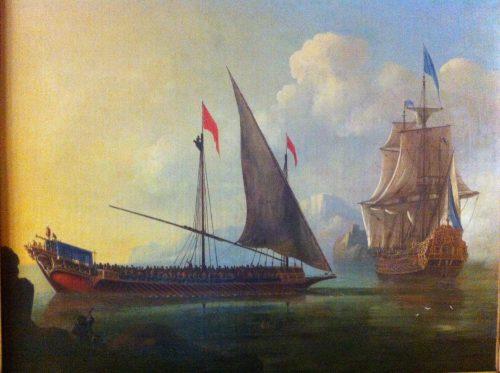 Figure 8. Jan Karel Donatus Van Beecq, Une navigation en Méditerranée : galère et vaisseau de France devant une côte rocheuse, collection du Yacht Club de France.