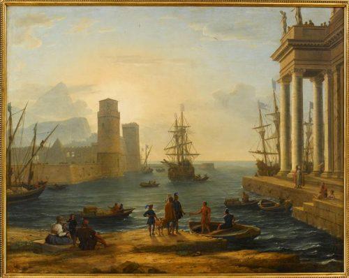 Figure 9. Claude Gelée, dit Le Lorrain, Port de mer, effet de brume, 1646, Paris, musée du Louvre, inv. 4719. Les personnages en question se trouvent dans le vaisseau de droite, derrière la colonnade.