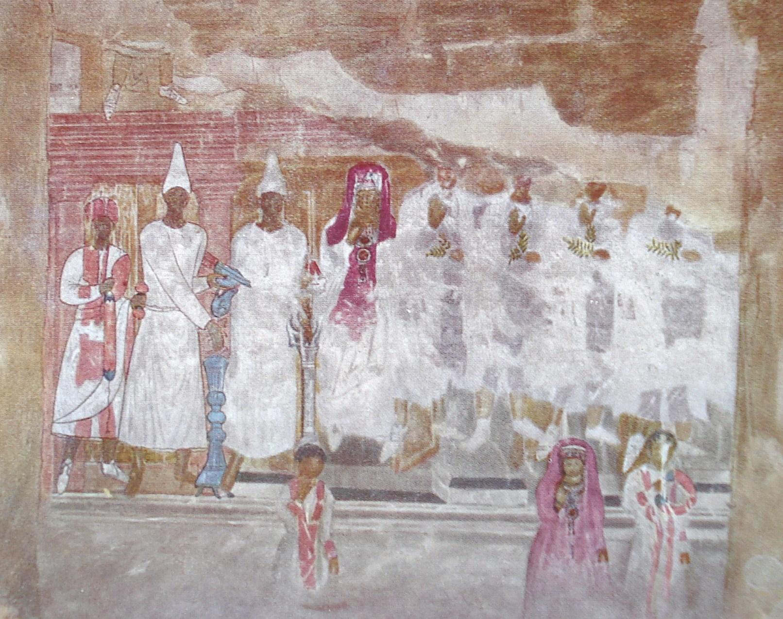 Fig. 5. Peinture du sacrifice de Conon. Sanctuaire de Bêl, Doura-Europos. Cumont 1926, pl. XXXI.