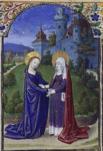 Fig. 7 : Maître de Coëtivy (Colin d'Amiens ?), Heures d'Olivier de Coëtivy, vers 1460, Vienne, Österreichische Nationalbibliothek, Cod. 1929, f. 24v : La Visitation.